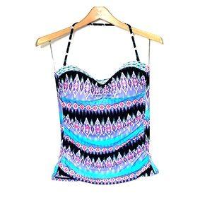 LA BLANCA Ikat Black Blue Halter Swimsuit Tankini